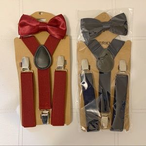 2 Boys Bow tie and Suspender Sets